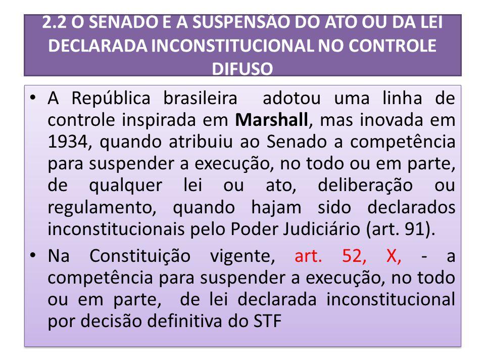 2.2 O SENADO E A SUSPENSÃO DO ATO OU DA LEI DECLARADA INCONSTITUCIONAL NO CONTROLE DIFUSO