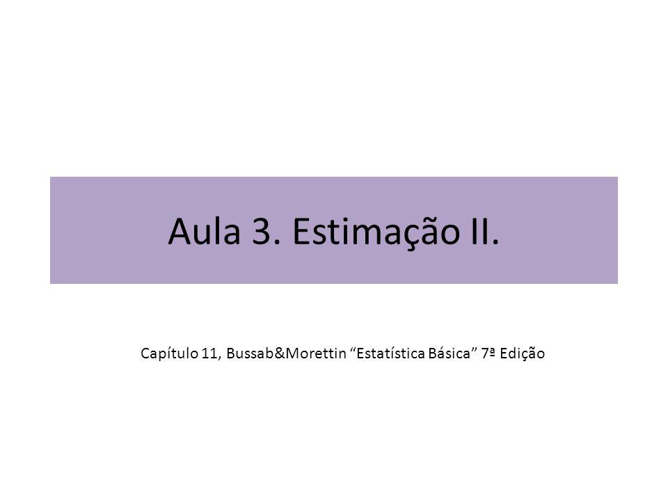 Aula 3. Estimação II. Capítulo 11, Bussab&Morettin Estatística Básica 7ª Edição
