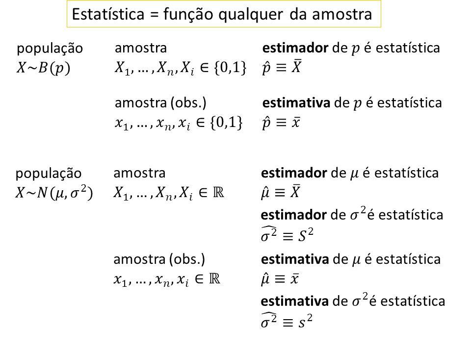Estatística = função qualquer da amostra