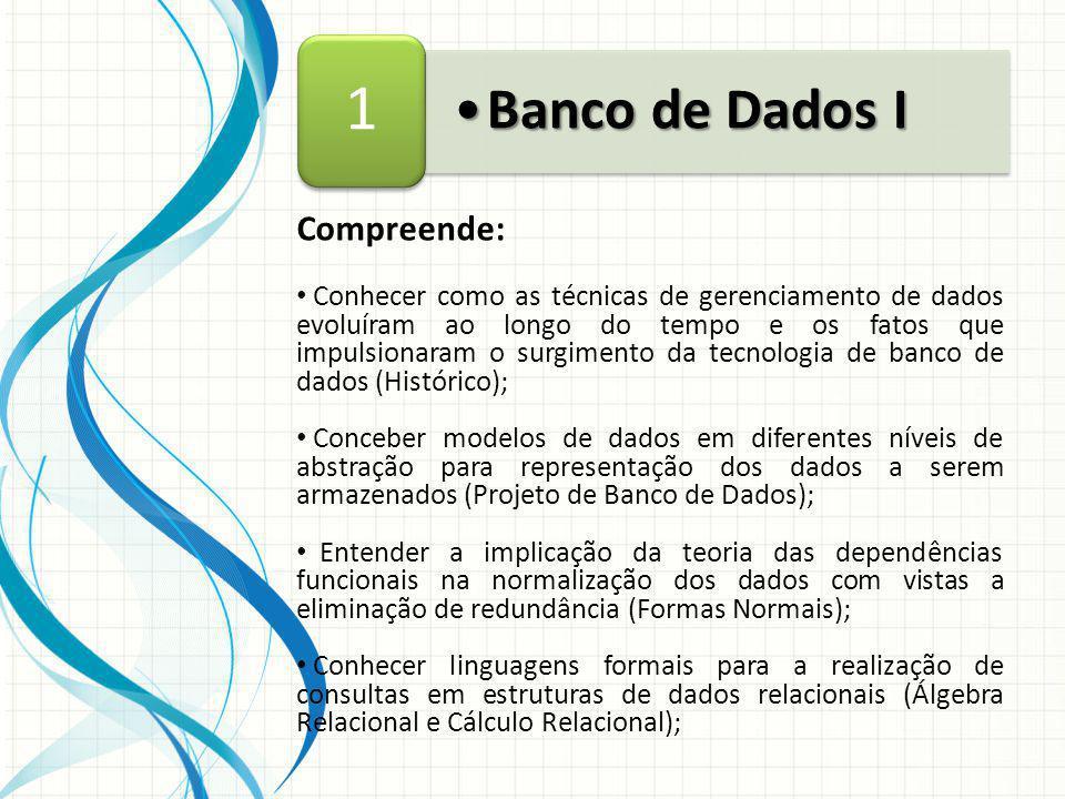 1 Banco de Dados I Compreende:
