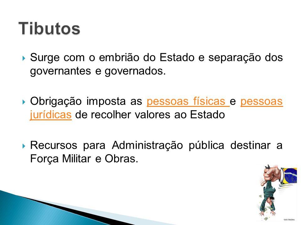 Tibutos Surge com o embrião do Estado e separação dos governantes e governados.