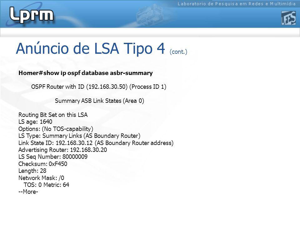 Anúncio de LSA Tipo 4 (cont.)