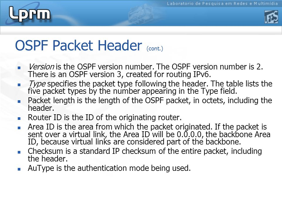 OSPF Packet Header (cont.)