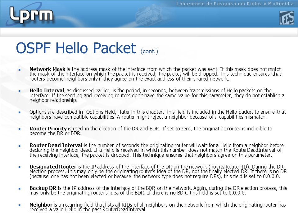 OSPF Hello Packet (cont.)