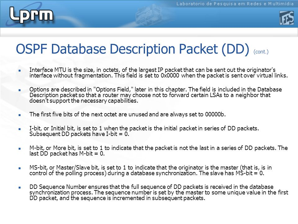 OSPF Database Description Packet (DD) (cont.)