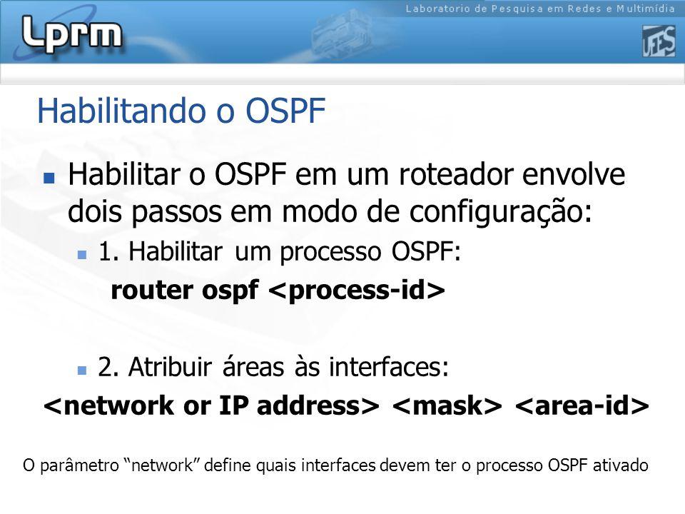 Habilitando o OSPF Habilitar o OSPF em um roteador envolve dois passos em modo de configuração: 1. Habilitar um processo OSPF: