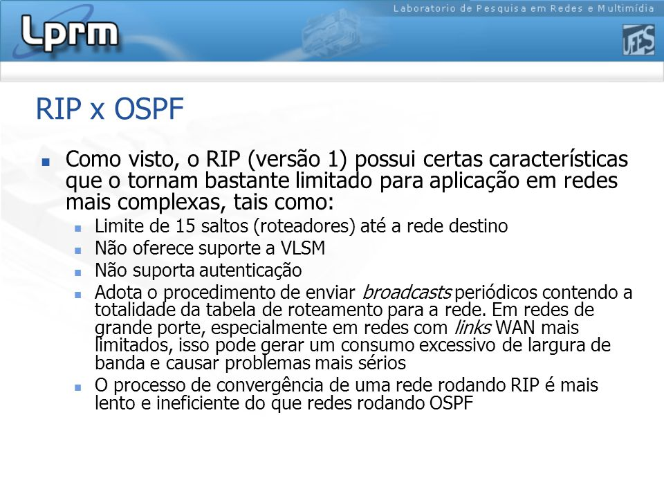 RIP x OSPF