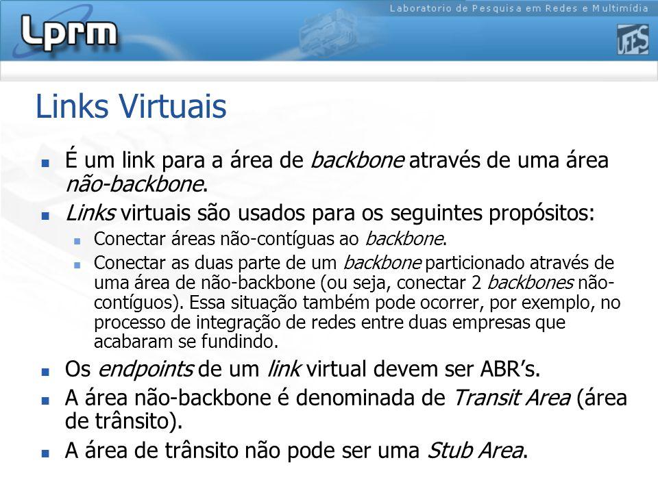 Links Virtuais É um link para a área de backbone através de uma área não-backbone. Links virtuais são usados para os seguintes propósitos: