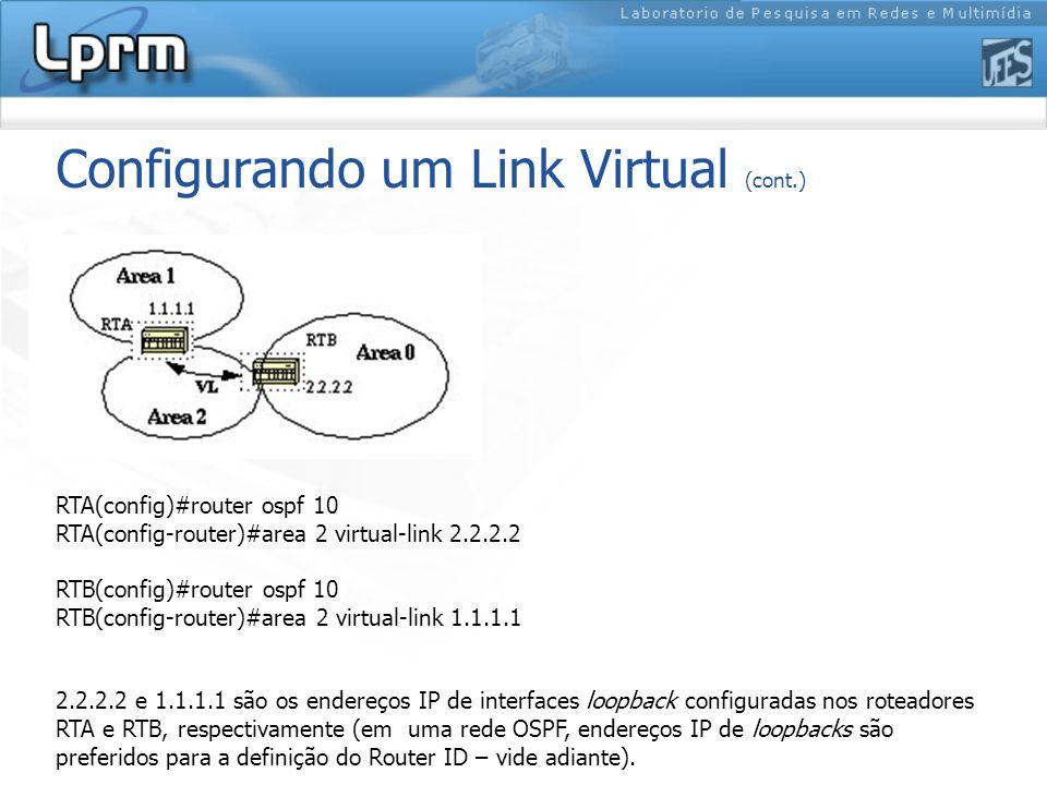 Configurando um Link Virtual (cont.)