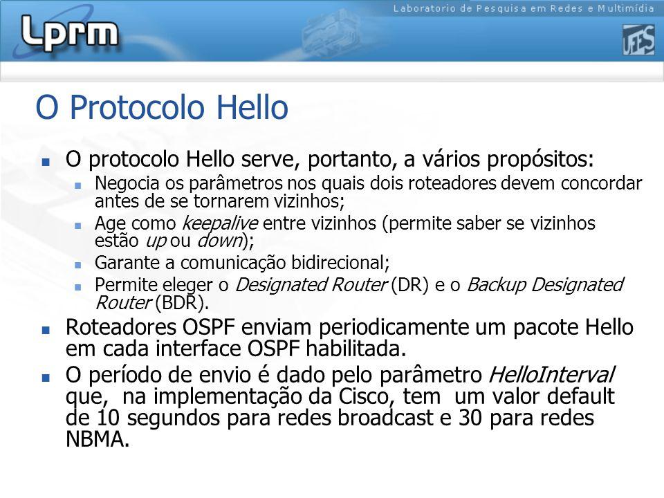 O Protocolo Hello O protocolo Hello serve, portanto, a vários propósitos: