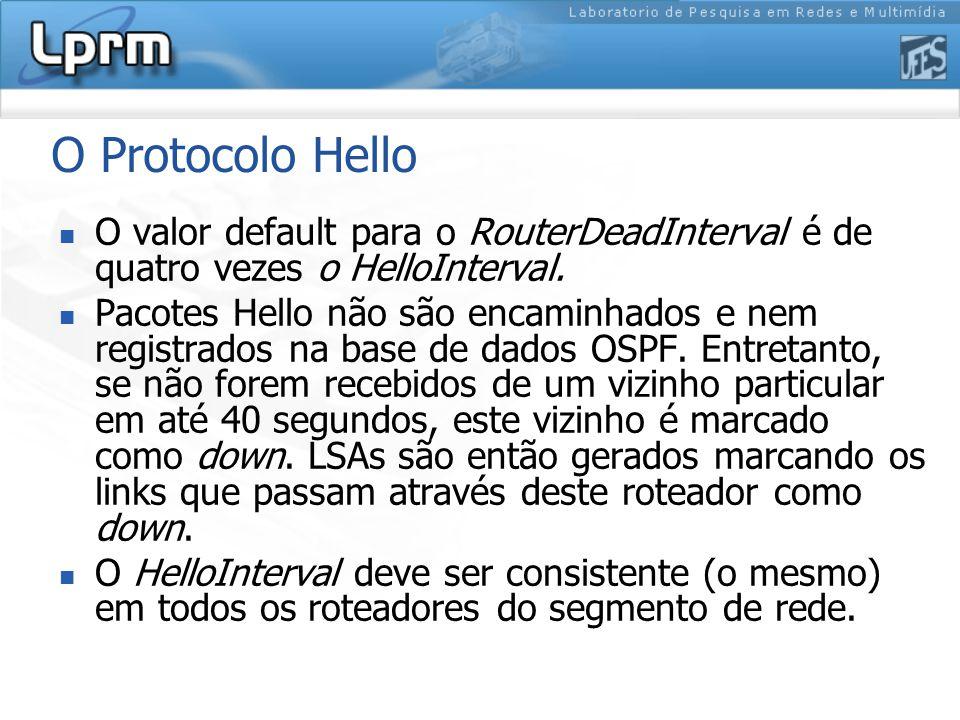 O Protocolo Hello O valor default para o RouterDeadInterval é de quatro vezes o HelloInterval.