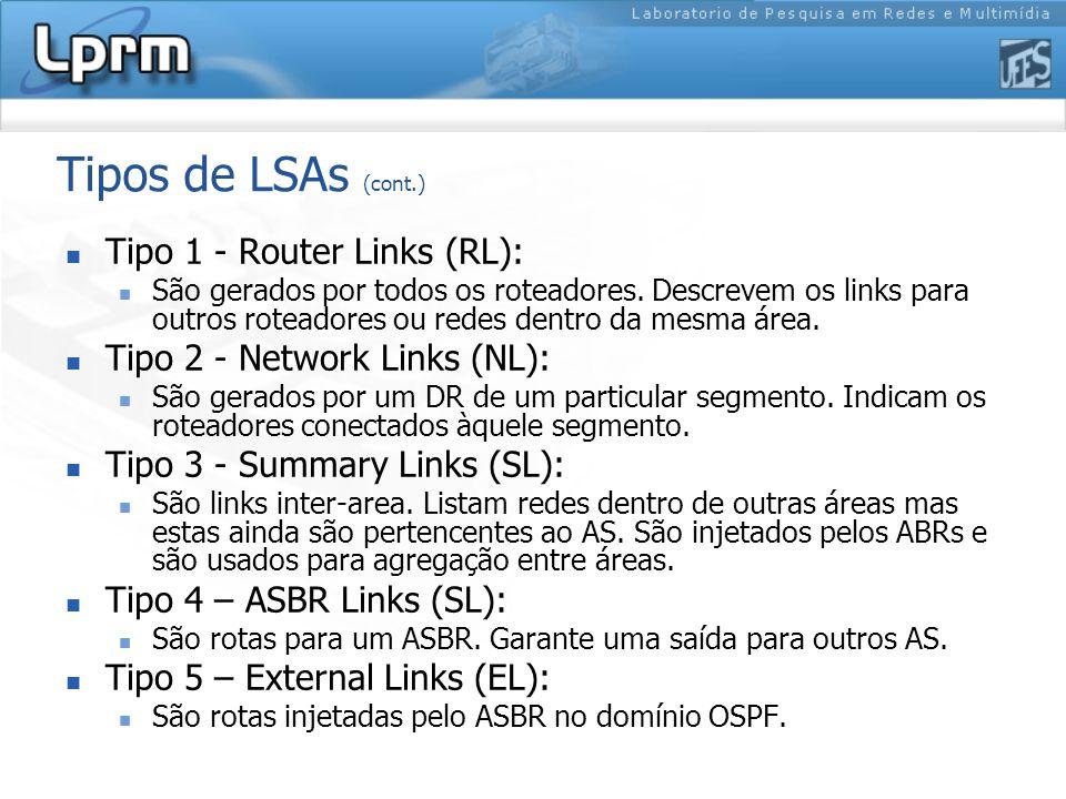 Tipos de LSAs (cont.) Tipo 1 - Router Links (RL):