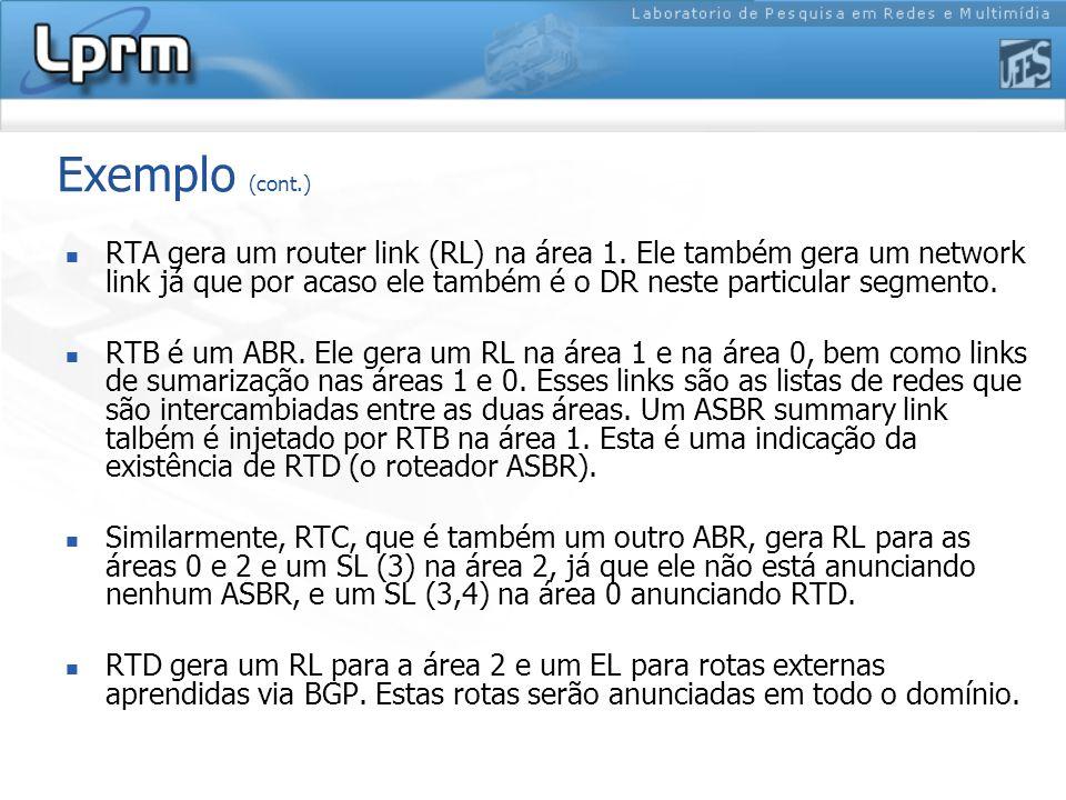 Exemplo (cont.) RTA gera um router link (RL) na área 1. Ele também gera um network link já que por acaso ele também é o DR neste particular segmento.