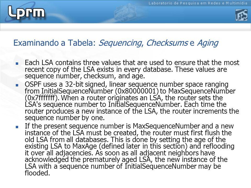 Examinando a Tabela: Sequencing, Checksums e Aging