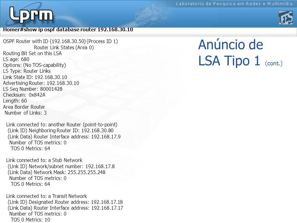 Anúncio de LSA Tipo 1 (cont.)