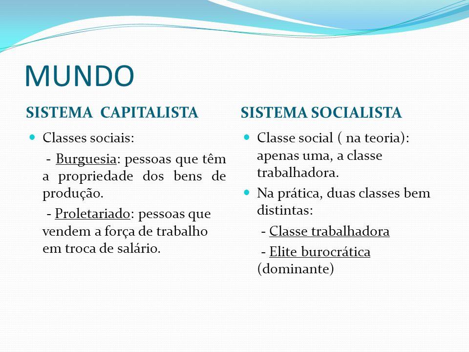 MUNDO SISTEMA CAPITALISTA SISTEMA SOCIALISTA Classes sociais: