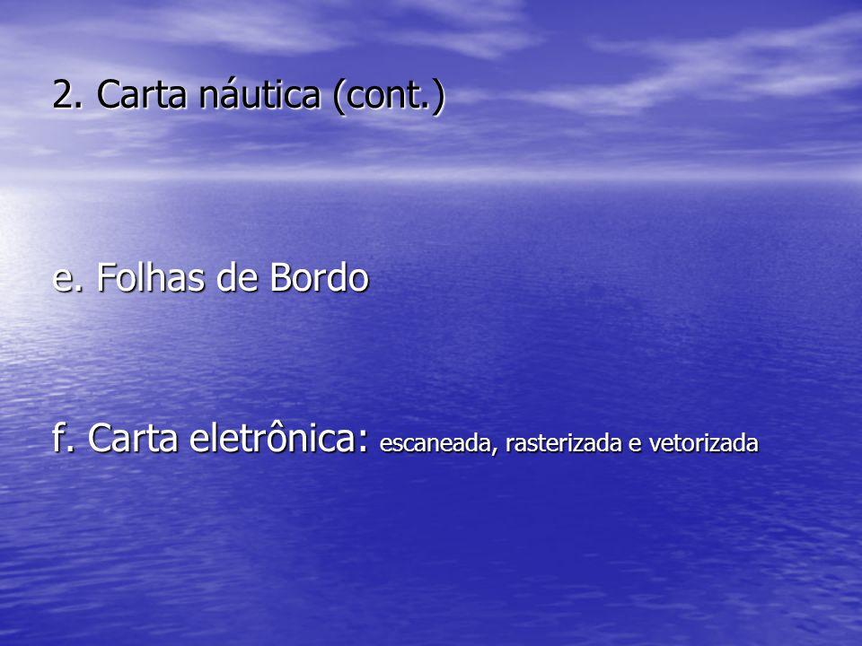 2. Carta náutica (cont.) e. Folhas de Bordo. f.
