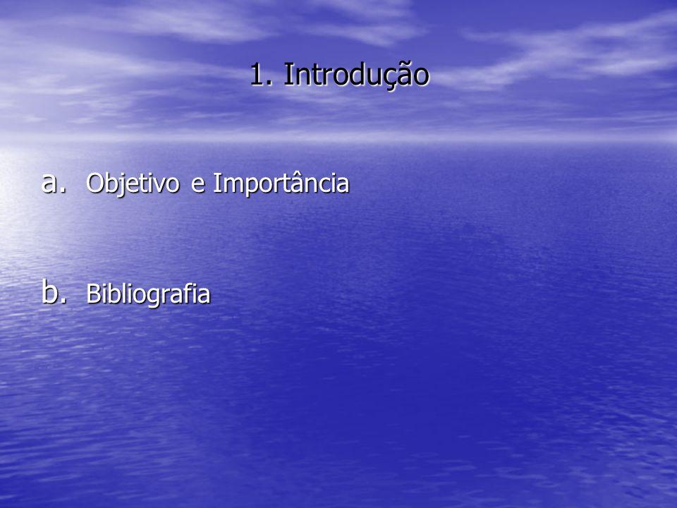 1. Introdução Objetivo e Importância Bibliografia
