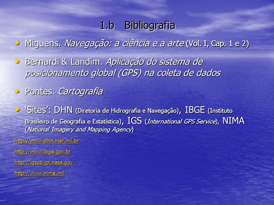 1.b Bibliografia Miguens. Navegação: a ciência e a arte (Vol. I, Cap. 1 e 2)