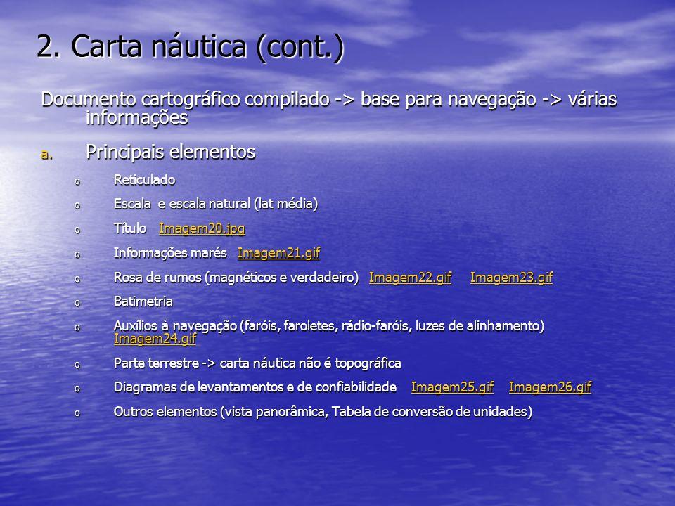 2. Carta náutica (cont.) Documento cartográfico compilado -> base para navegação -> várias informações.