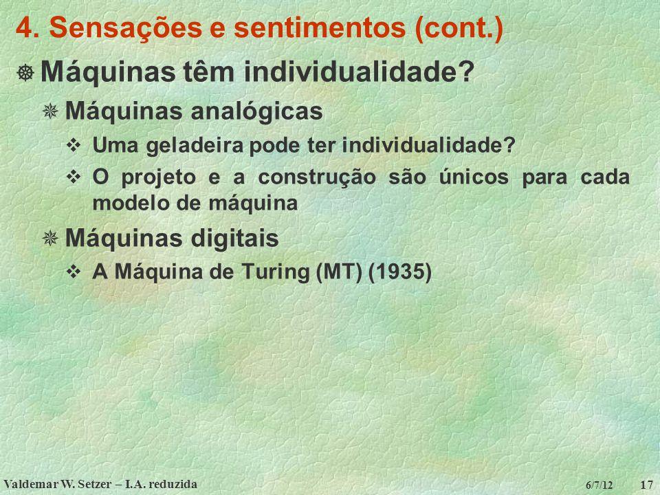 4. Sensações e sentimentos (cont.)