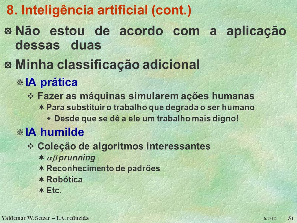 8. Inteligência artificial (cont.)