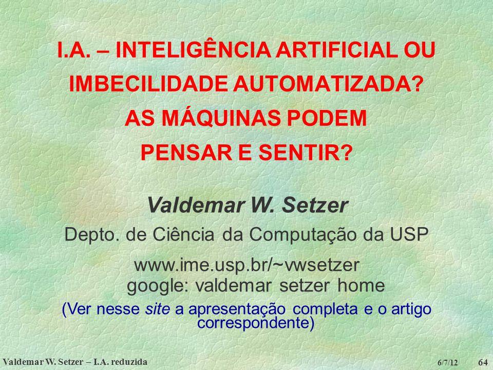 Valdemar W. Setzer – I.A. reduzida