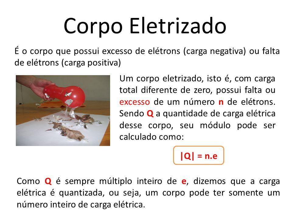 Corpo Eletrizado É o corpo que possui excesso de elétrons (carga negativa) ou falta de elétrons (carga positiva)