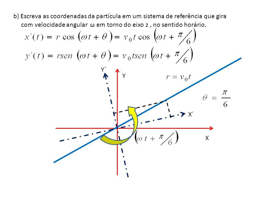 b) Escreva as coordenadas da partícula em um sistema de referência que gira