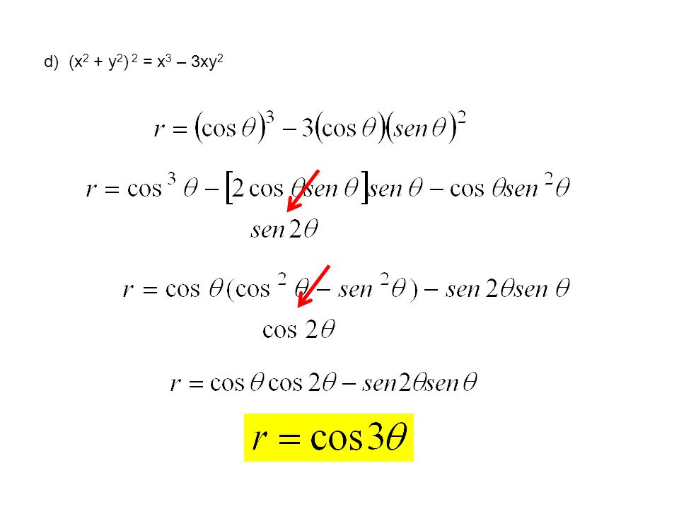 d) (x2 + y2) 2 = x3 – 3xy2