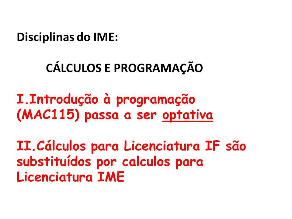 Disciplinas do IME: CÁLCULOS E PROGRAMAÇÃO. Introdução à programação (MAC115) passa a ser optativa.