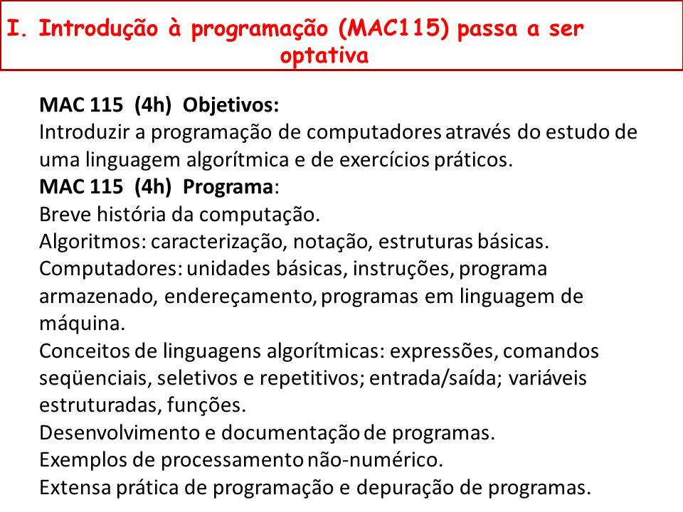 I. Introdução à programação (MAC115) passa a ser optativa