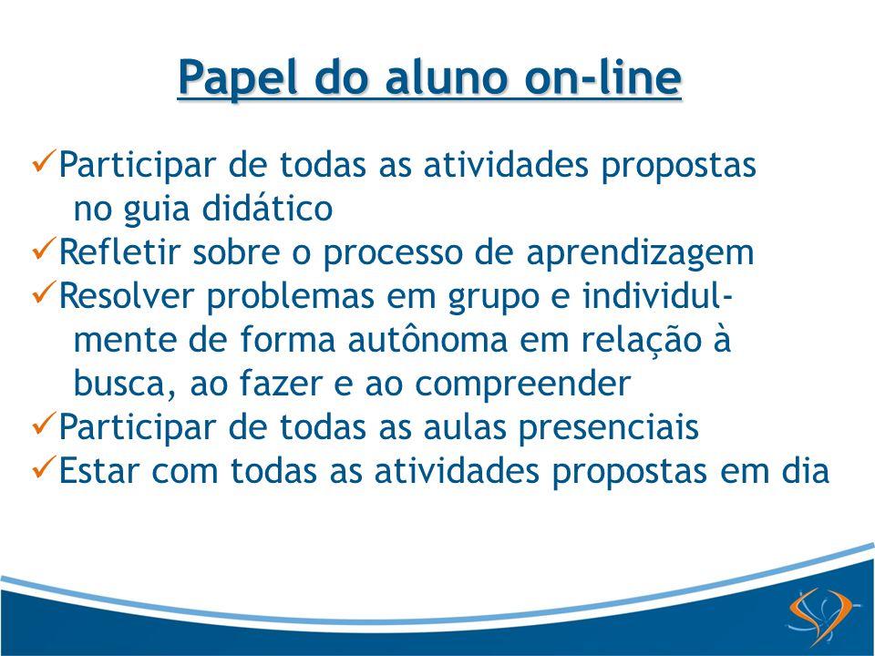 Papel do aluno on-line Participar de todas as atividades propostas