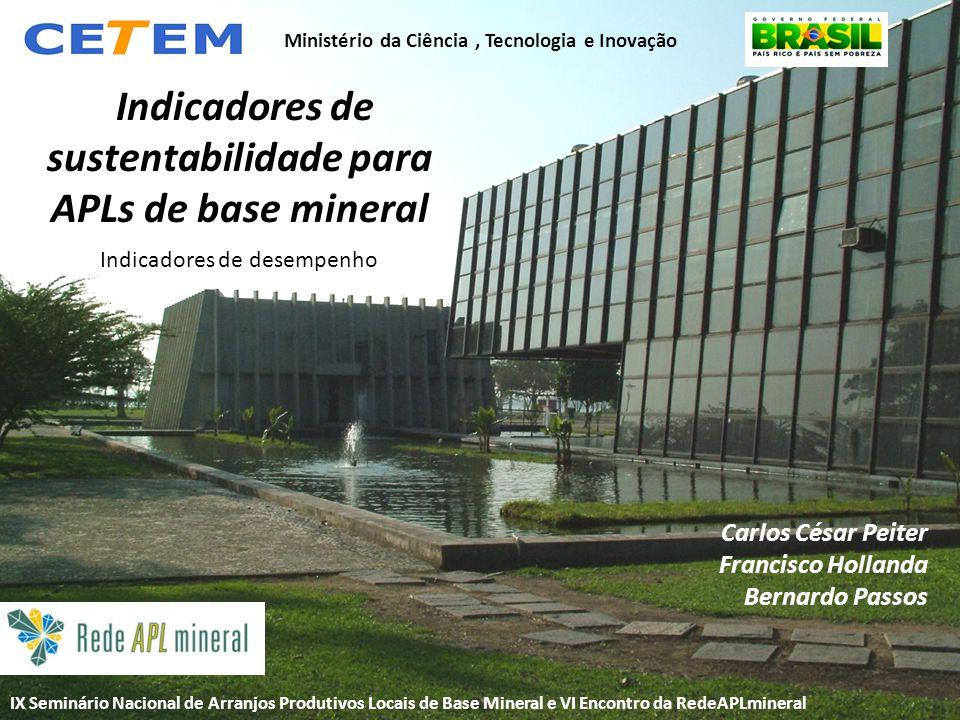 Título Indicadores de sustentabilidade para APLs de base mineral