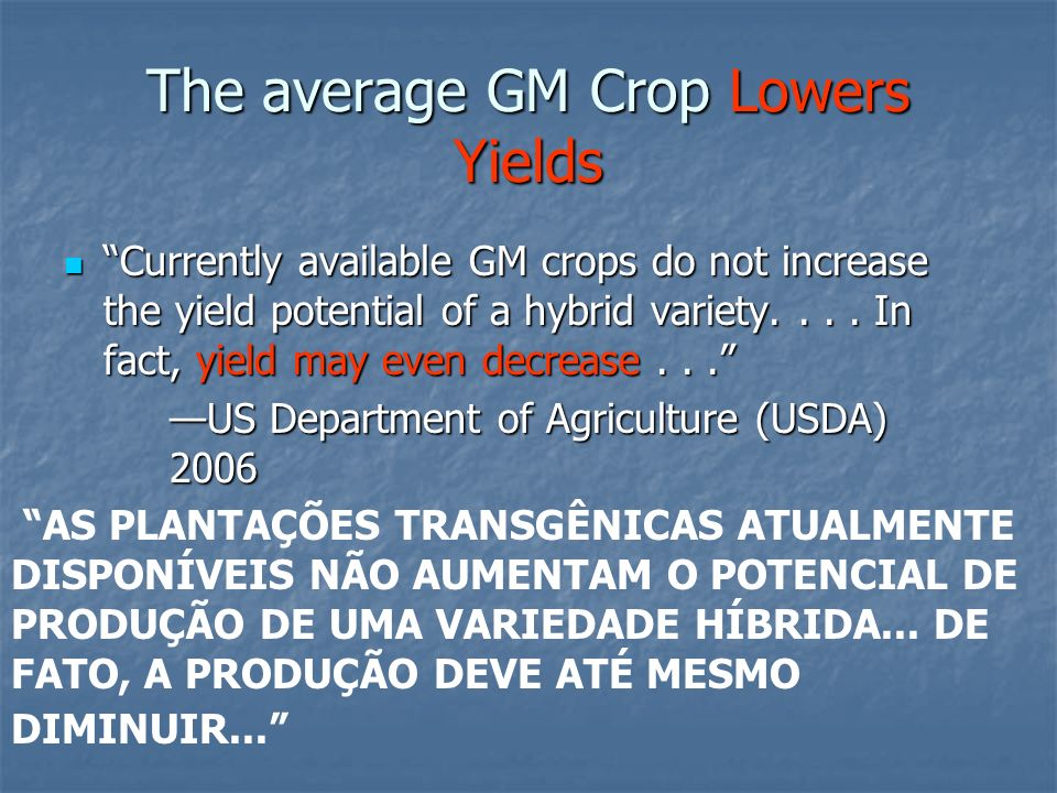 The average GM Crop Lowers Yields
