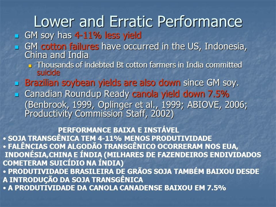 Lower and Erratic Performance
