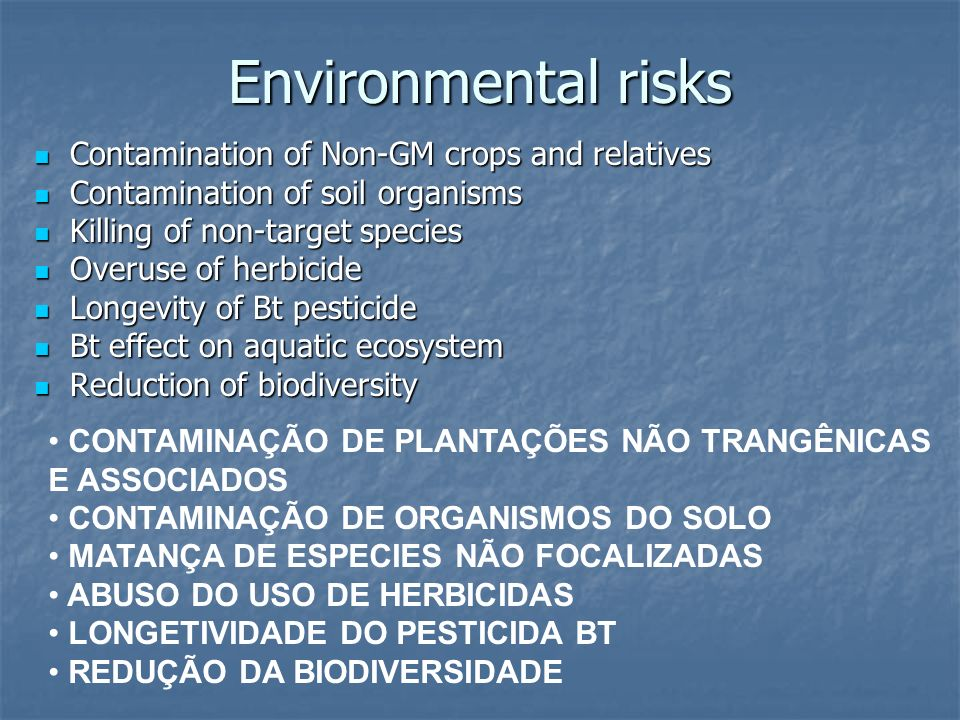 Environmental risks Contamination of Non-GM crops and relatives