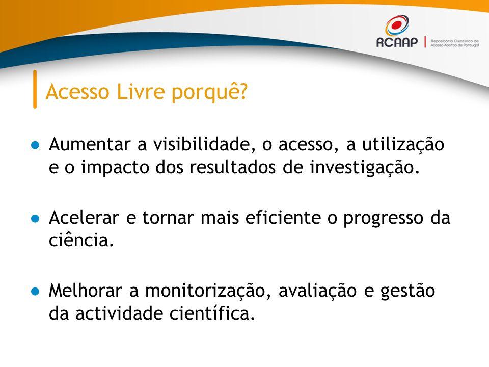 Acesso Livre porquê Aumentar a visibilidade, o acesso, a utilização e o impacto dos resultados de investigação.