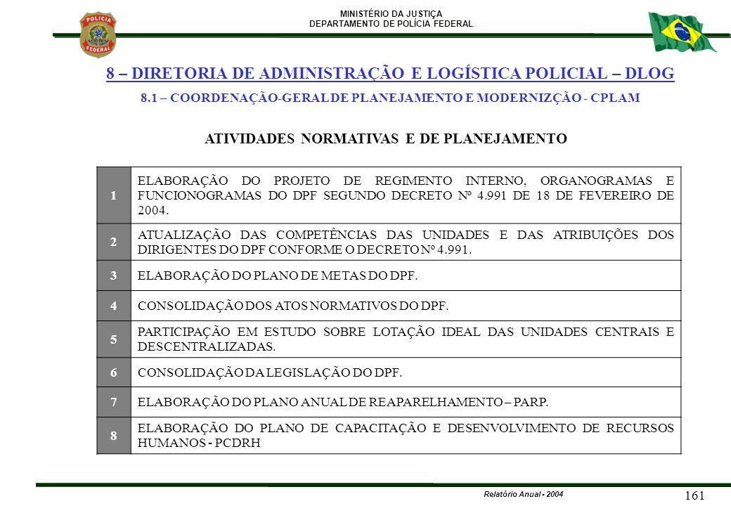 8.1 – COORDENAÇÃO-GERAL DE PLANEJAMENTO E MODERNIZÇÃO - CPLAM