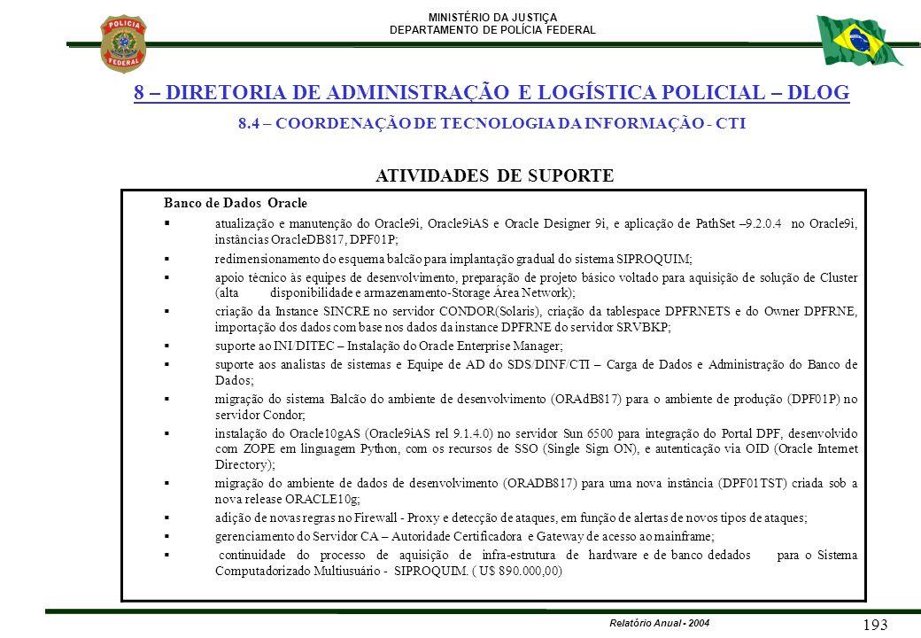 8.4 – COORDENAÇÃO DE TECNOLOGIA DA INFORMAÇÃO - CTI