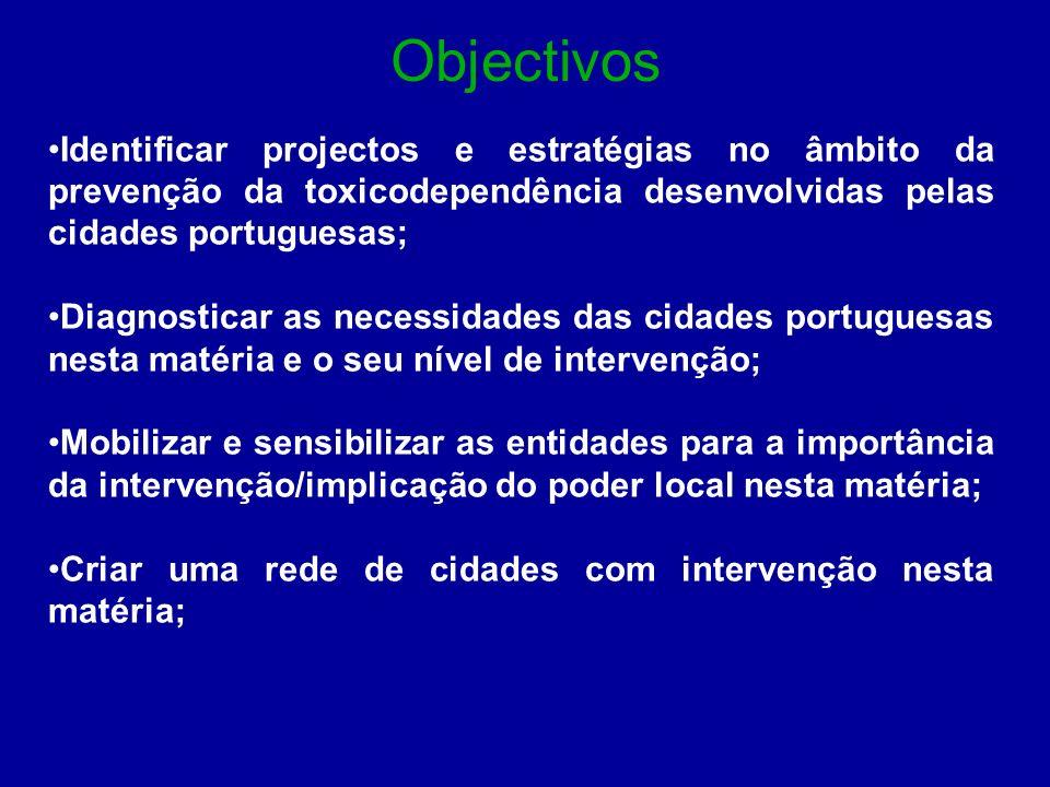 Objectivos Identificar projectos e estratégias no âmbito da prevenção da toxicodependência desenvolvidas pelas cidades portuguesas;