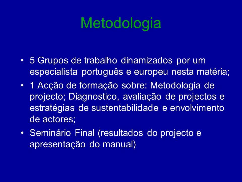 Metodologia 5 Grupos de trabalho dinamizados por um especialista português e europeu nesta matéria;
