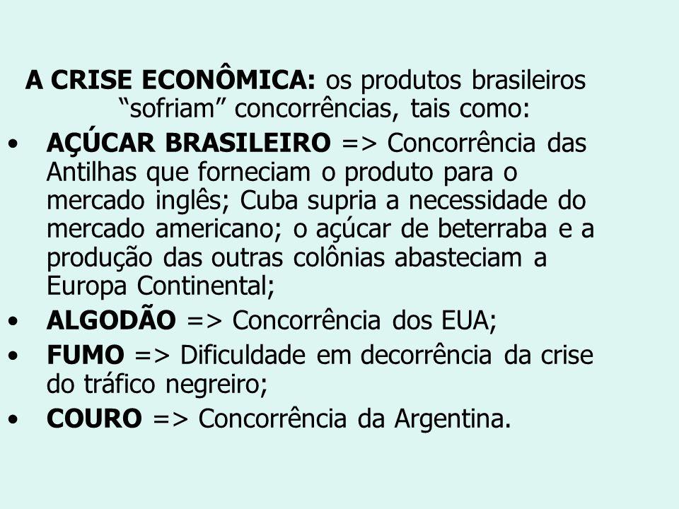 A CRISE ECONÔMICA: os produtos brasileiros sofriam concorrências, tais como: