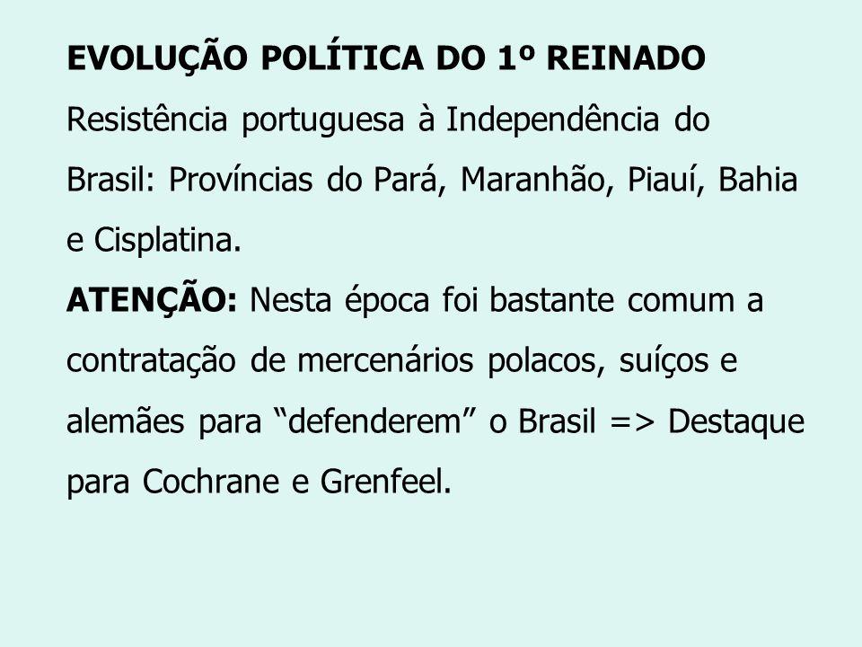 EVOLUÇÃO POLÍTICA DO 1º REINADO Resistência portuguesa à Independência do Brasil: Províncias do Pará, Maranhão, Piauí, Bahia e Cisplatina.
