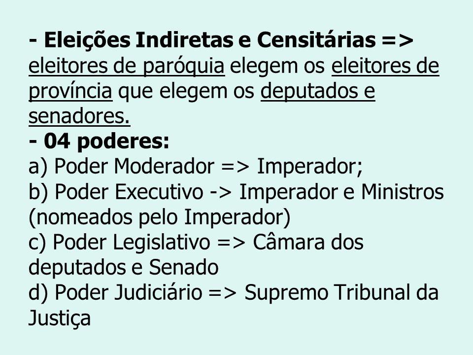 - Eleições Indiretas e Censitárias => eleitores de paróquia elegem os eleitores de província que elegem os deputados e senadores.