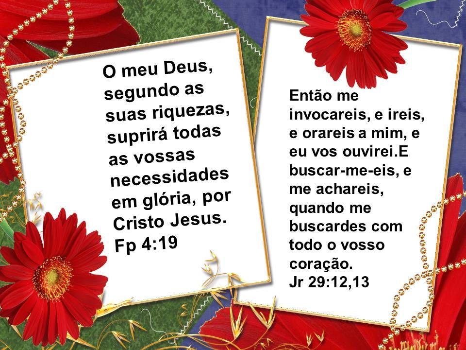 O meu Deus, segundo as suas riquezas, suprirá todas as vossas necessidades em glória, por Cristo Jesus. Fp 4:19