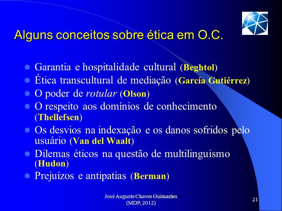 Alguns conceitos sobre ética em O.C.