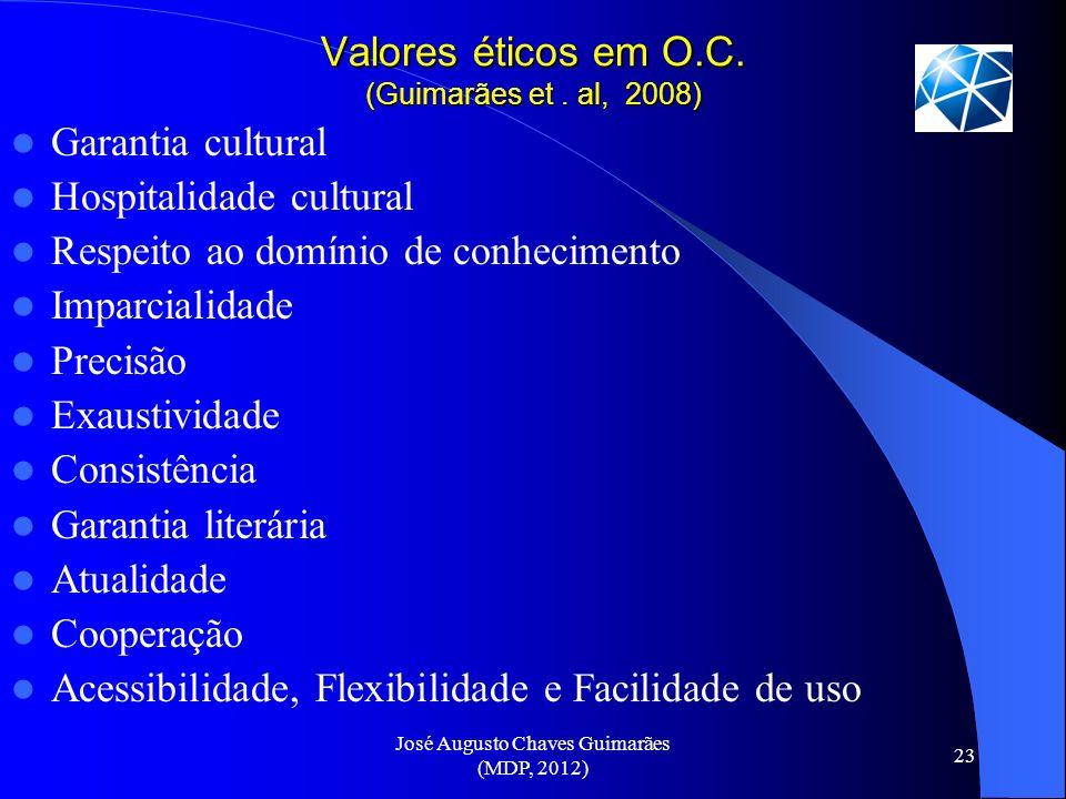 Valores éticos em O.C. (Guimarães et . al, 2008)