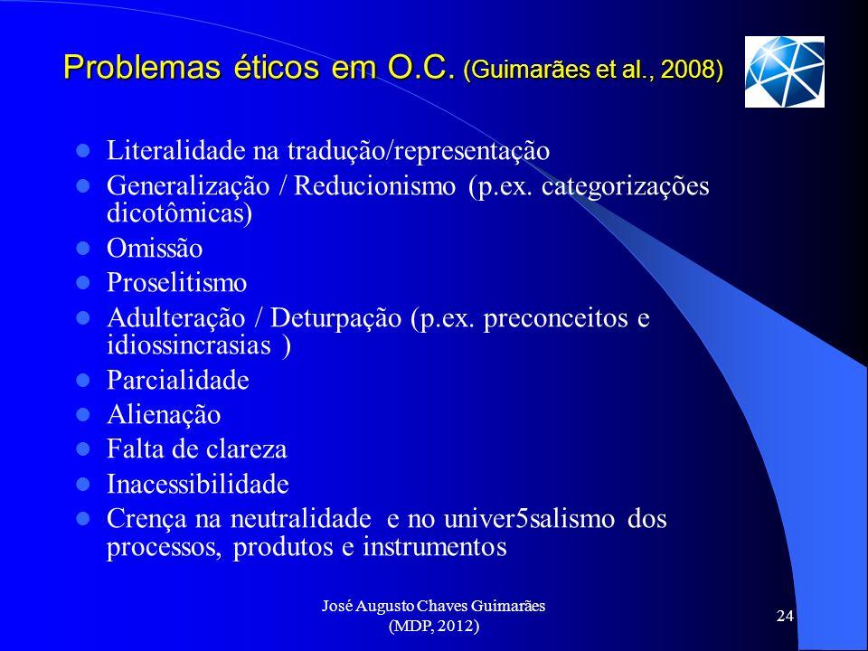 Problemas éticos em O.C. (Guimarães et al., 2008)