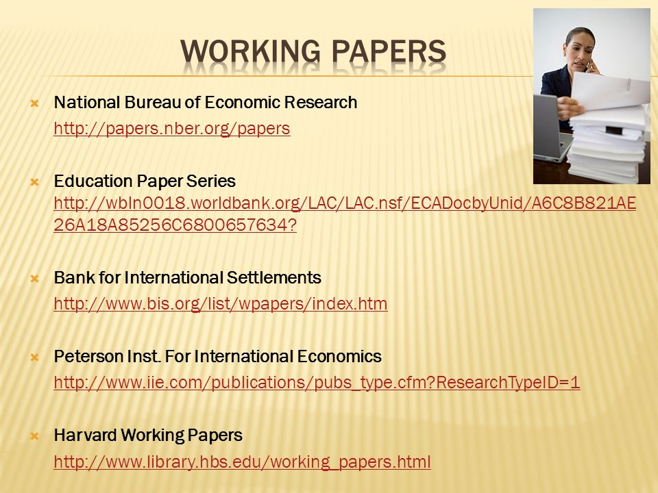 Working papers National Bureau of Economic Research